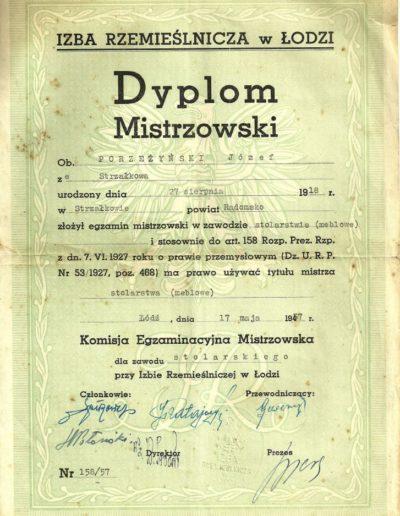 Dyplom Mistrzowski 1957r.